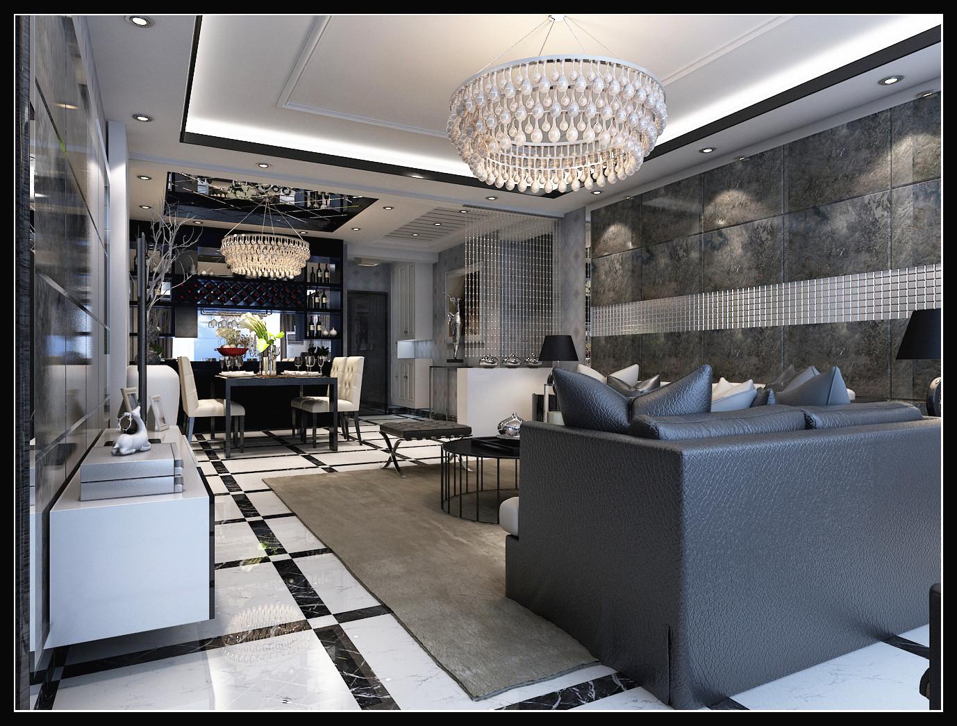 简约 混搭 白领 时尚 客厅图片来自石家庄城市人家装饰在最新时尚黑白搭配效果图案例的分享