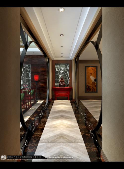 中式 别墅装修 装修图片 新中式 奢华 玄关图片来自香港古兰装饰-成都在中海城南一号中式装修设计别墅的分享