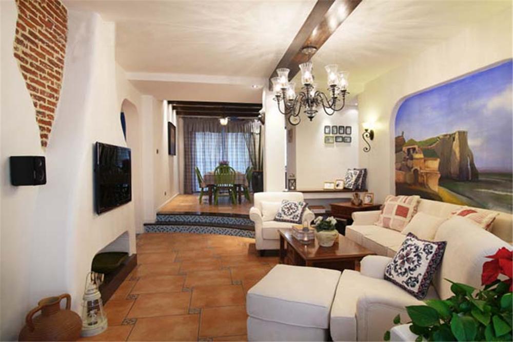 地中海 橱柜 餐桌 背景墙 客厅图片来自实创装饰梦在爱琴海之恋的分享