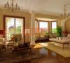 整个卧室给人一种欧式宫殿的感觉,开阔的视野,黄色的背景墙,配上线条精致的家具,使整个卧室环境简约而不简单。