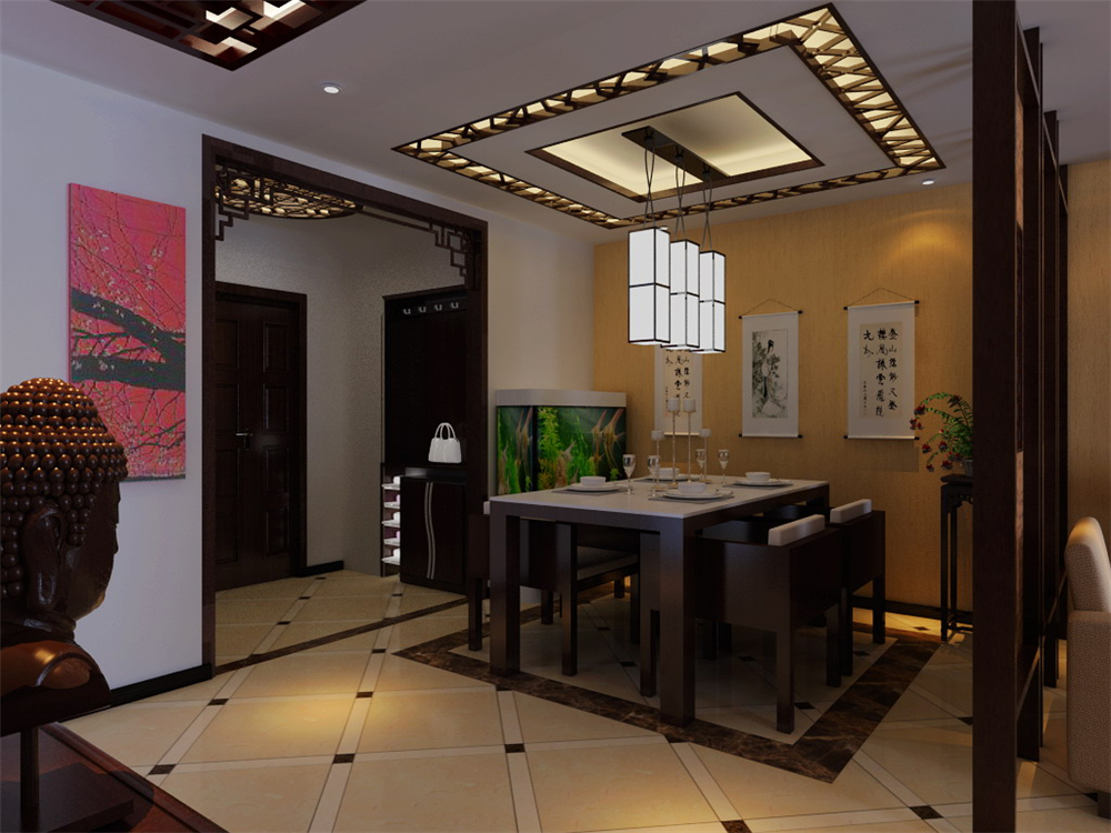 三居 白领 收纳 小资 餐厅图片来自实创装饰完美家装在新中式风格塑造太阳星城中国风的分享