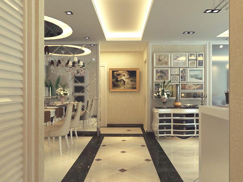 欧式 三居 别墅 玄关图片来自静夜思在融科天城120平欧式风格设计效果的分享