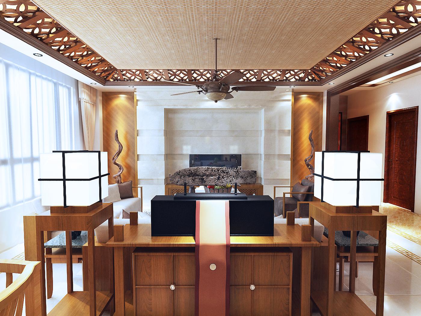 二居 中式 万科四季 客厅装修 沈阳装修 客厅图片来自百家装饰小姜在万科四季花城-中式家居的分享
