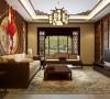 【西安朗汇装饰】三居室新中式客厅效果图赏析