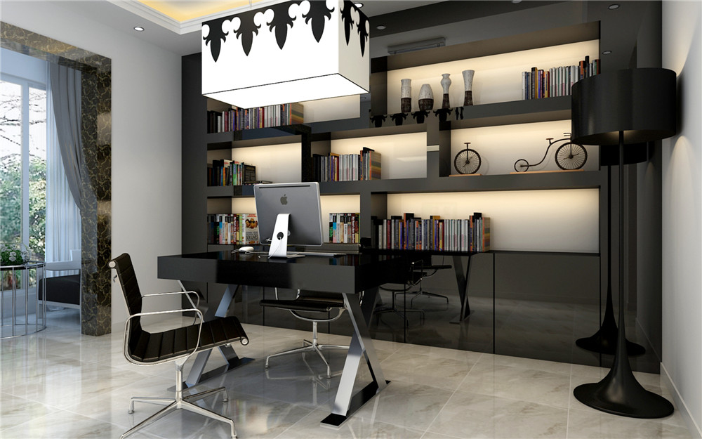 现代简约 三居设计 功能间齐全 简单时尚 书房图片来自上海实创-装修设计效果图在173平米现代时尚的设计的分享
