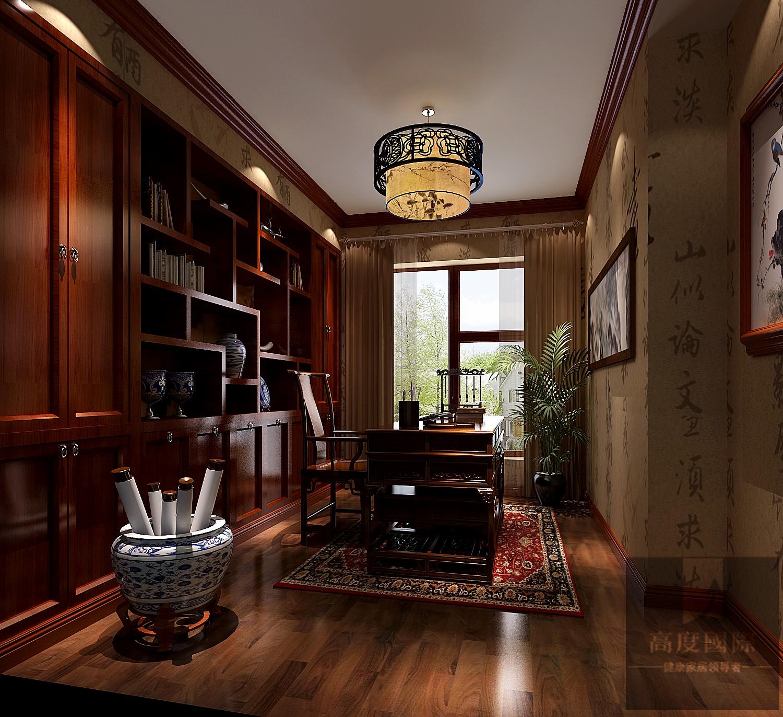 别墅 中式 大气 北京装修 中式设计 书房图片来自高度国际装饰韩冰在富力新城229㎡中式效果的分享