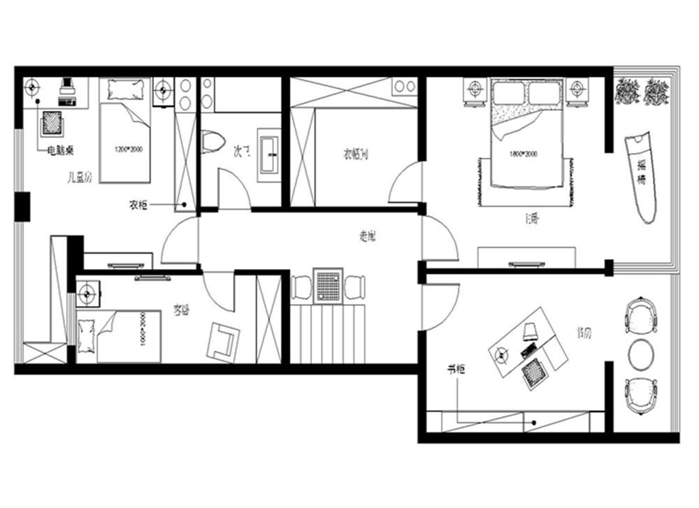 现代简约 三居设计 功能间齐全 简单时尚 户型图图片来自上海实创-装修设计效果图在173平米现代时尚的设计的分享