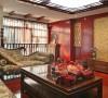 中式居的中庸与欧式家具的典雅,格局的对称,整个客厅的空间淡雅中又体现了贵气。
