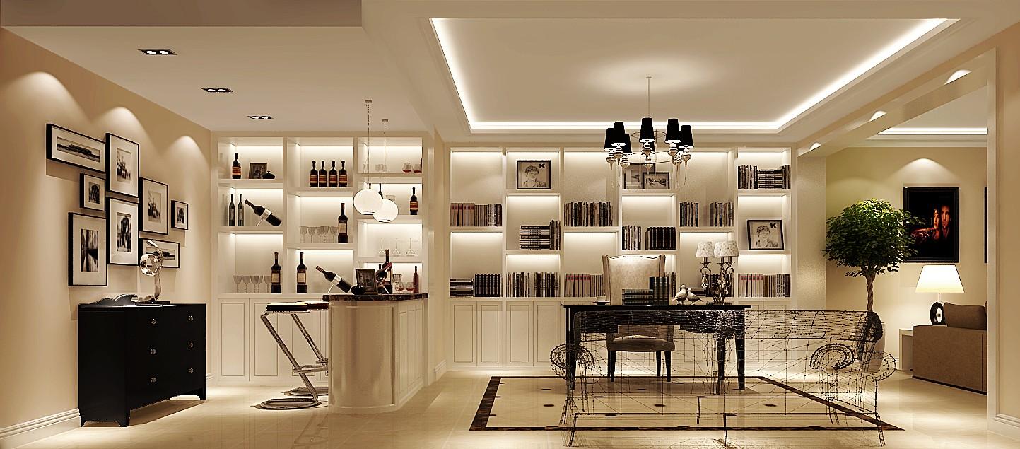 复式 复式装修 复式设计 复式效果 书房图片来自高度国际装饰韩冰在首开常青藤156㎡复式简约效果的分享