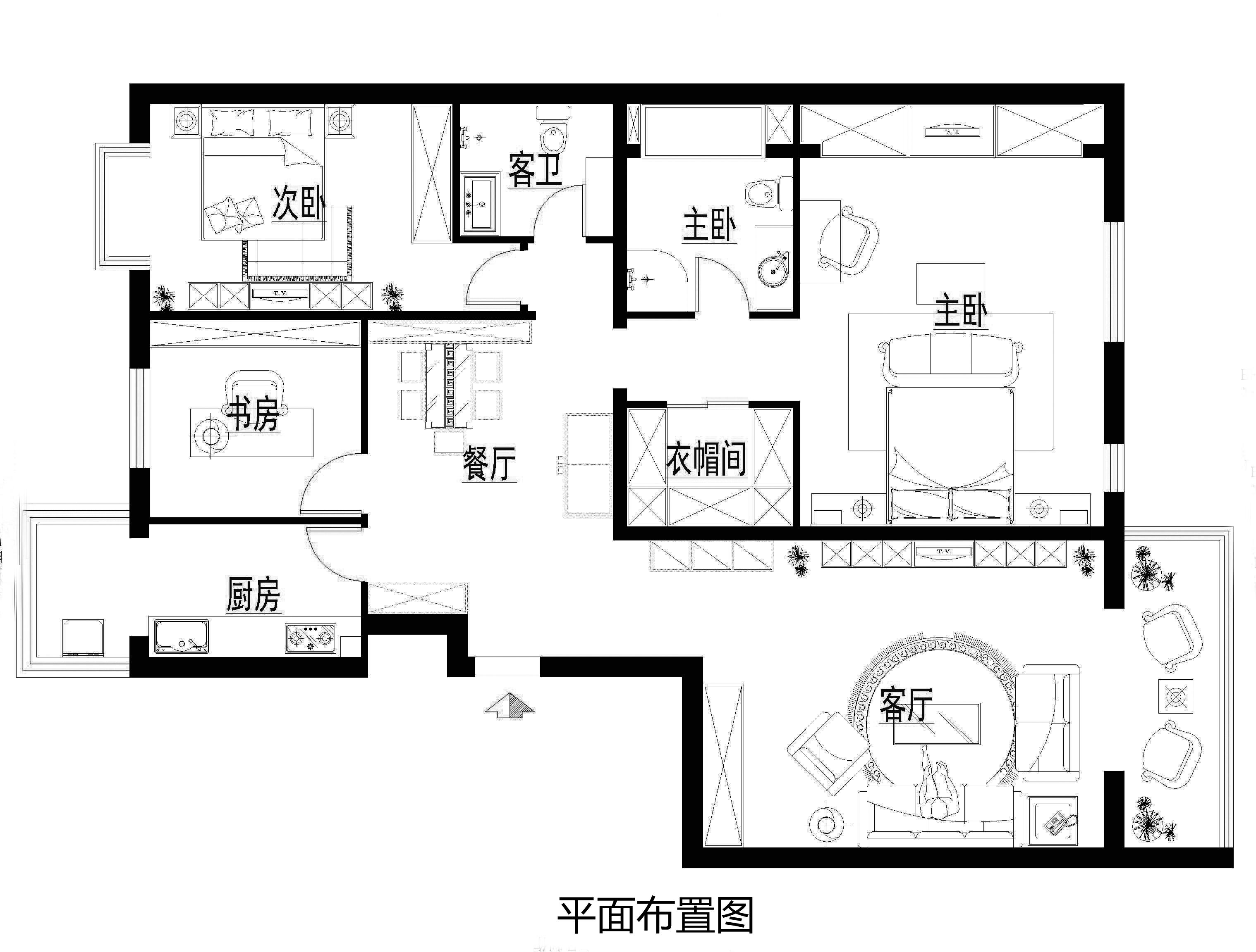 欧式 经典 三居 丽都东镇 小资 户型图图片来自北京实创装饰集团在150平米三居室的欧式经典的分享