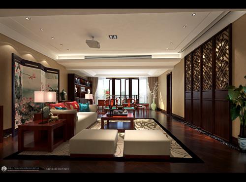 中式 别墅装修 装修图片 新中式 奢华 客厅图片来自香港古兰装饰-成都在中海城南一号中式装修设计别墅的分享