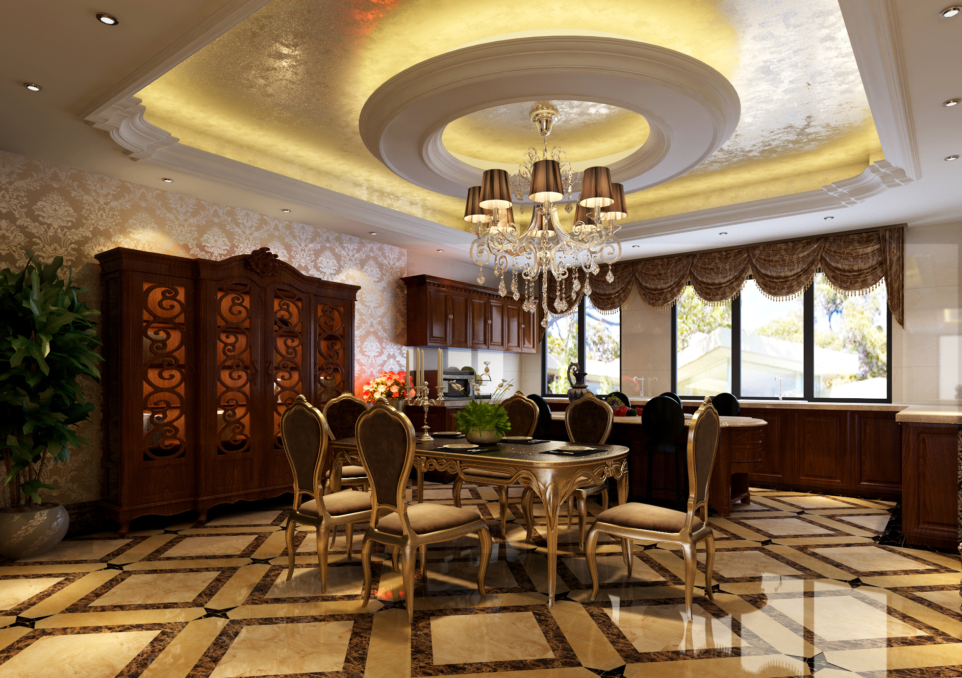 别墅 欧式 别墅设计 别墅装修 奢华 气质 餐厅图片来自高度国际装饰韩冰在玲珑塔欧式奢华缔造经典的分享