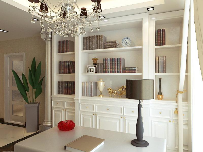 欧式 三居 别墅 书房图片来自静夜思在融科天城120平欧式风格设计效果的分享
