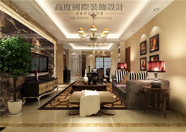 三居 简约 欧式 田园 混搭 客厅图片来自高度国际装饰设计刘威在御翠尚府三居简欧风格的分享