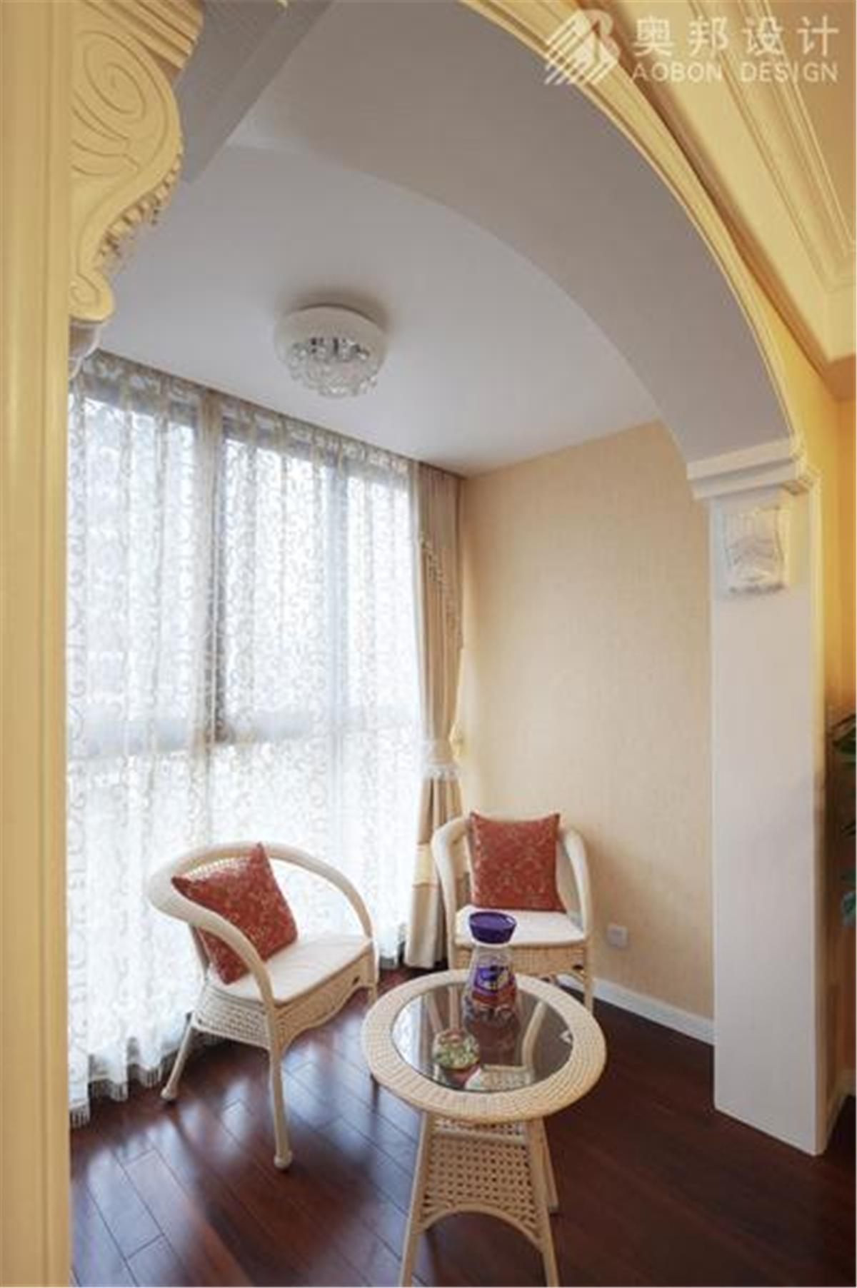 汇智湖畔 三居室设计 奥邦装饰 高娟作品 新欧式 阳台图片来自上海奥邦装饰在汇智湖畔148平D1户型新欧式设计的分享