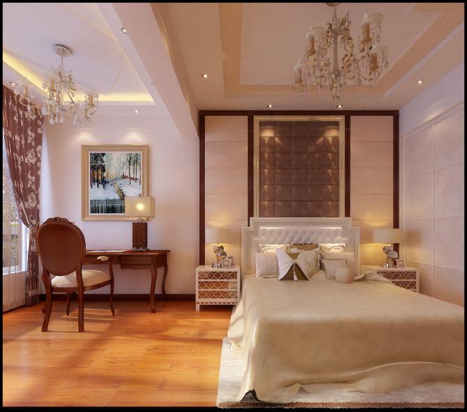 武汉实创 融科天城 美式风格 130平 别墅装修 卧室图片来自静夜思在融科天城130平简练美式装修设计的分享