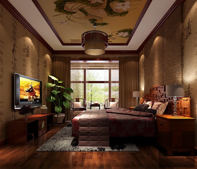 别墅 中式 大气 北京装修 中式设计 卧室图片来自高度国际装饰韩冰在富力新城229㎡中式效果的分享