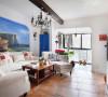 主打风格为地中海风格,结合电视机背景墙做了一个壁炉,所以整个背景墙甚至客厅整体的格局都发生变化。