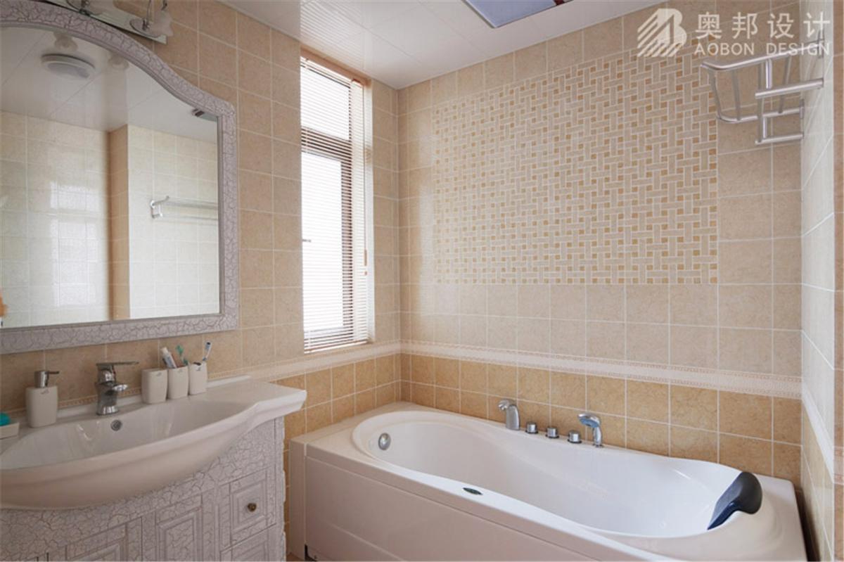 汇智湖畔 三居室设计 奥邦装饰 高娟作品 新欧式 卫生间图片来自上海奥邦装饰在汇智湖畔148平D1户型新欧式设计的分享