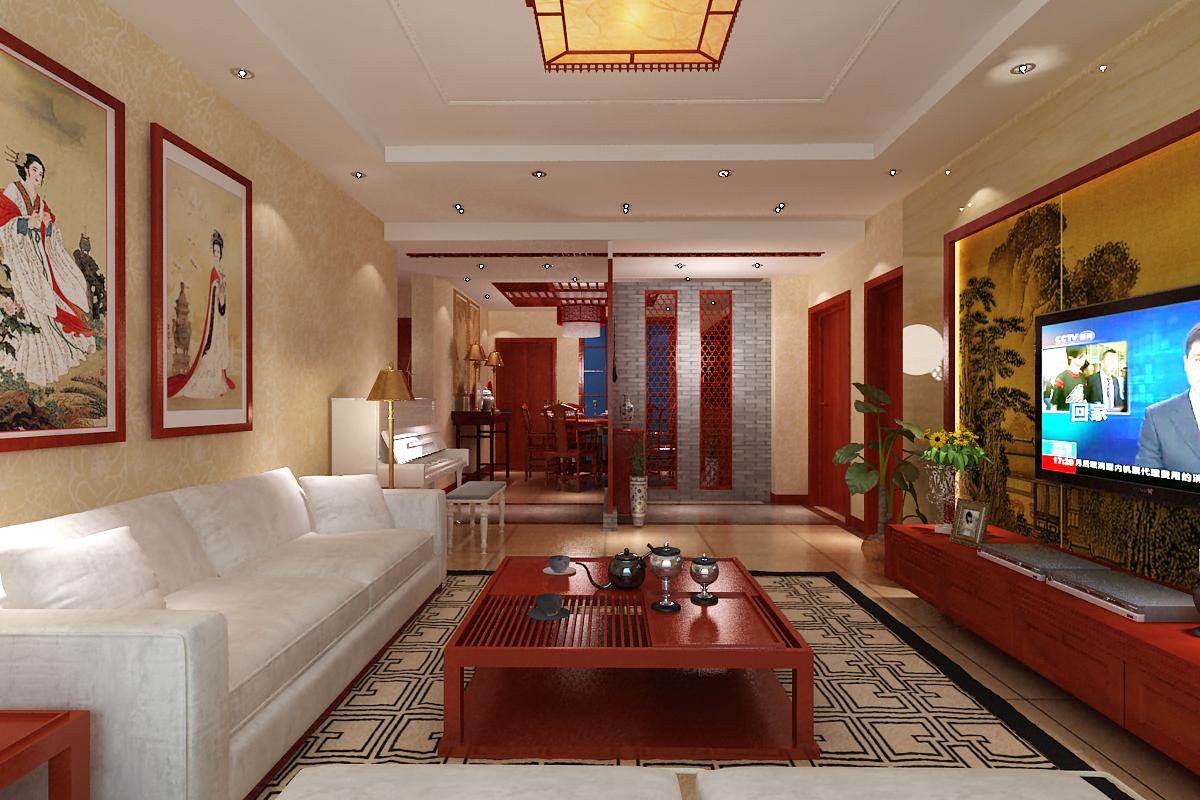 三居 客厅图片来自石家庄品界国际装饰在石家庄国瑞城中式风格装修的分享