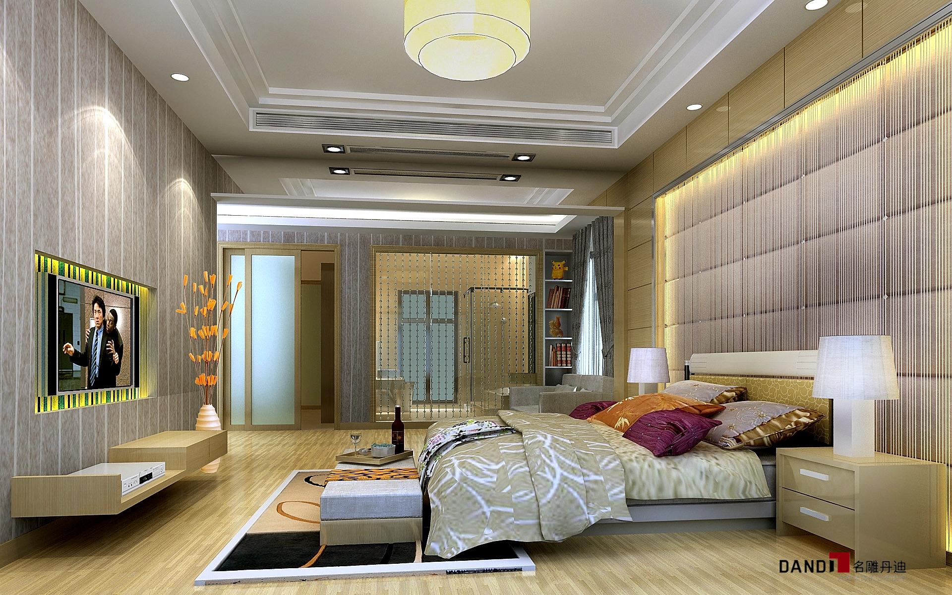 现代 现代奢华 别墅装饰 名雕丹迪 时尚设计 卧室 卧室图片来自名雕丹迪在现代奢华--300平顶级江南别墅的分享