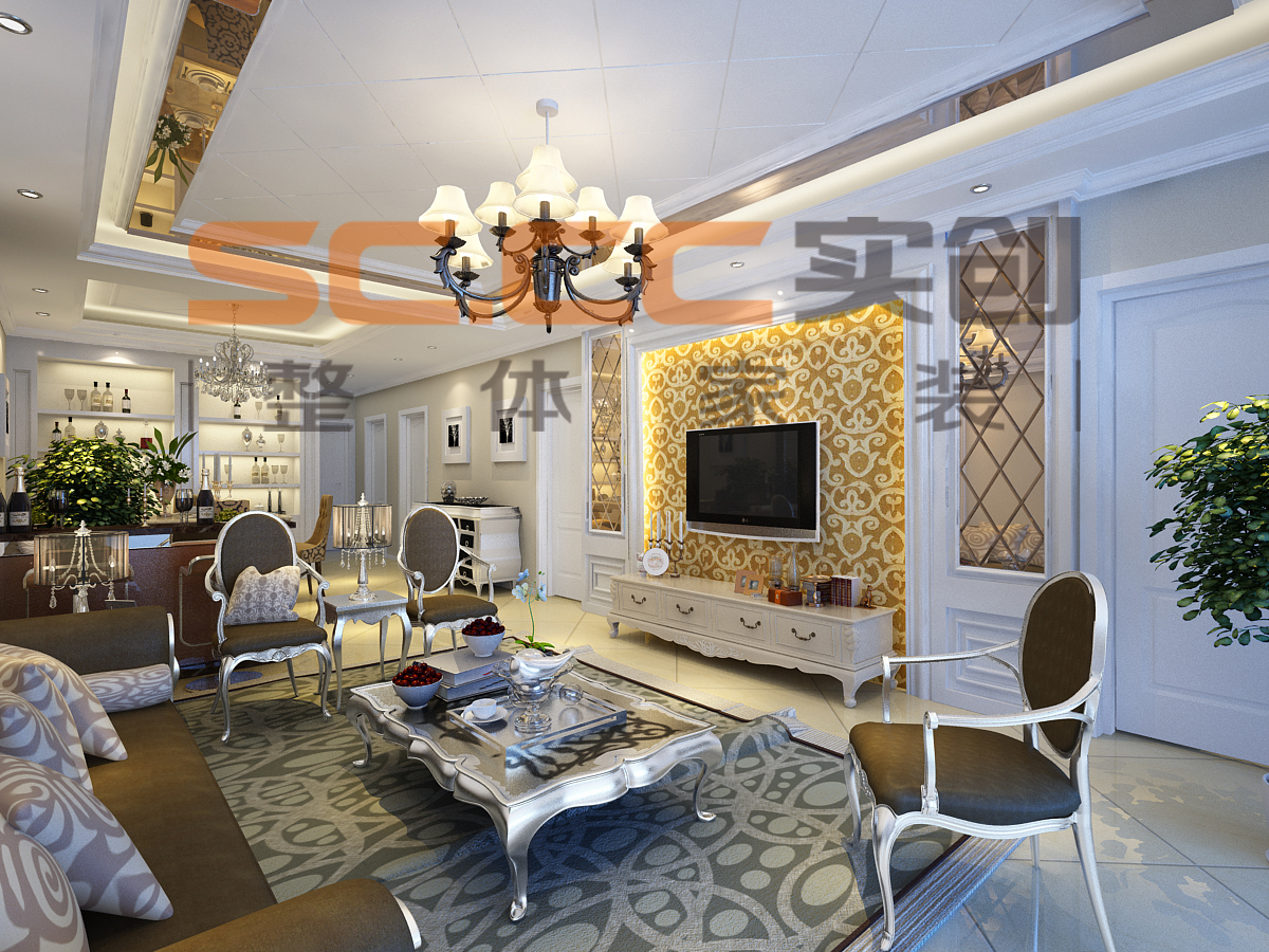欧式 混搭 中式 二居 隆豪恒基 西宁实创 客厅图片来自西宁实创装饰在隆豪恒基104简欧vs中式大比拼的分享