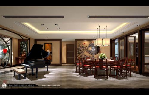 中式 别墅装修 装修图片 新中式 奢华 餐厅图片来自香港古兰装饰-成都在中海城南一号中式装修设计别墅的分享