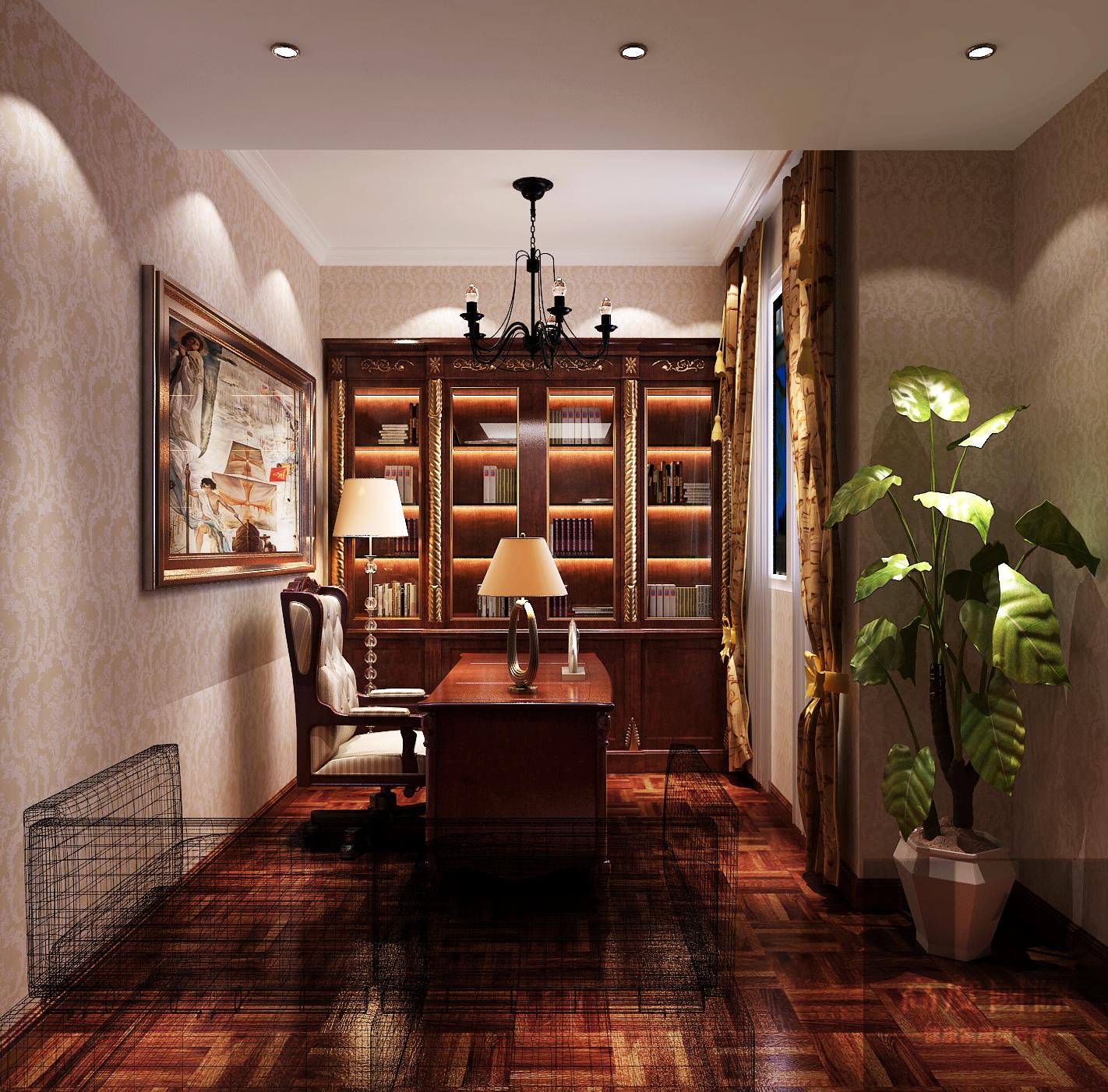 三居 简约 欧式 北京装修 北京设计 书房图片来自高度国际装饰韩冰在天竺新新家园137㎡简欧效果的分享