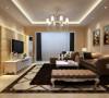 客厅采用简欧风格典型的白加米黄色彩搭配方式辅以银色的典雅与黑色的深沉,比例协调,沉稳同时浮显简约张力;大理石背景墙的厚重感起到平衡空间视觉的作用,同时与水晶吊灯的晶莹透亮形成鲜明的对比