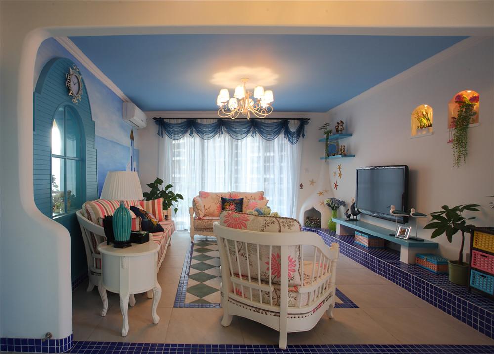 地中海 5居 白领 收纳 客厅图片来自装饰装修-18818806853在白+蓝+的浪漫地中海风情的分享