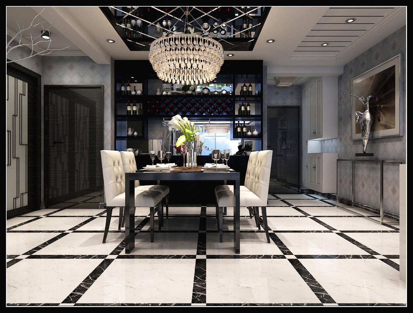 简约 混搭 白领 时尚 餐厅图片来自石家庄城市人家装饰在最新时尚黑白搭配效果图案例的分享