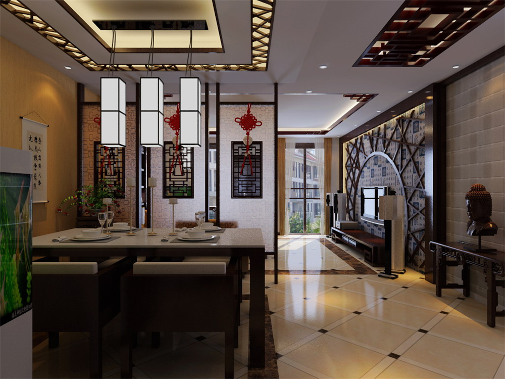 三居 白领 收纳 小资 客厅图片来自实创装饰完美家装在新中式风格塑造太阳星城中国风的分享