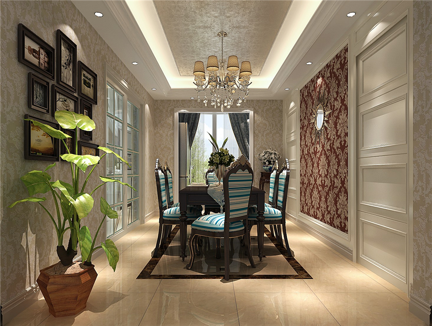 三居 新古典 别墅设计 北京装修 餐厅图片来自高度国际装饰韩冰在天润福熙大道166㎡新古典的分享