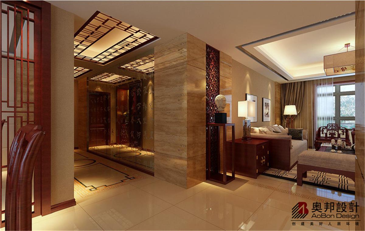 汇智湖畔 新中式 奥邦装饰 任祥付 装修设计 客厅图片来自上海奥邦装饰在汇智湖畔148平D1户型新中式的分享