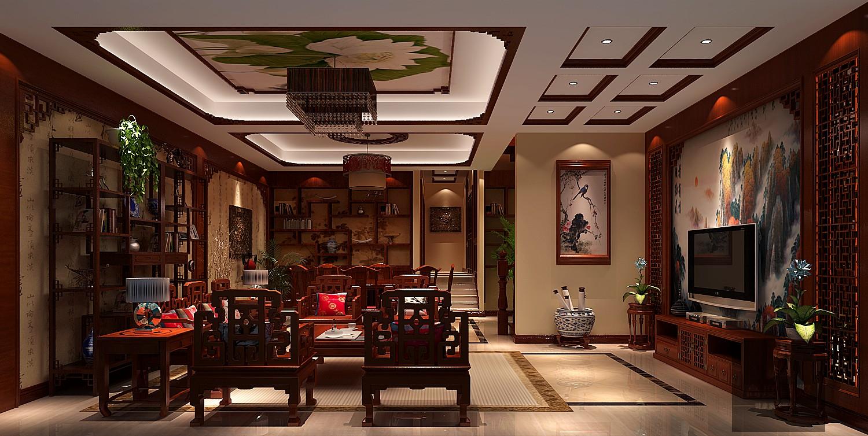 别墅 中式 大气 北京装修 中式设计 客厅图片来自高度国际装饰韩冰在富力新城229㎡中式效果的分享