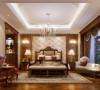 卧室则打破了客厅那种明亮的欧式风格,采用了稍微深色的色调,让卧室感觉非常安静温馨。