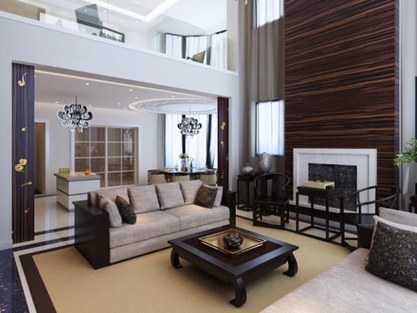 客厅家具的选择上,主要采用了混合搭配的手法,在满足使用功能的基础上,适当运用了简单的中式元素