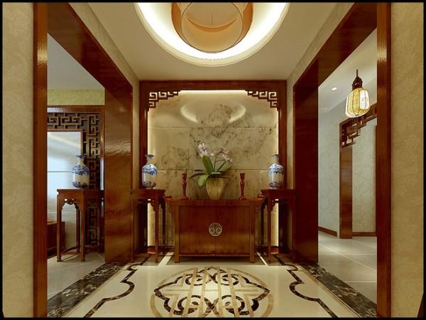 远见小区三居室中式风格门厅装修设计效果图案例展示