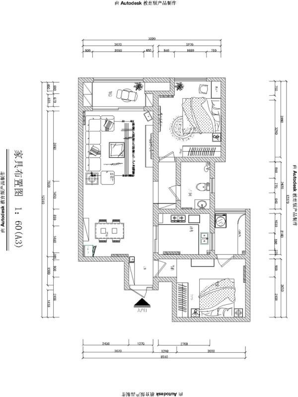 金林中心三居室简约风格装修效果图【户型设计图纸】