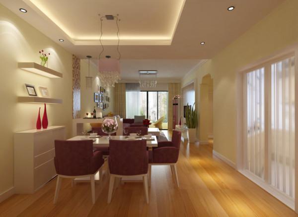 金林中心三居室简约风格装修效果图【餐厅设计效果图】