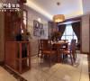 华地紫园139㎡中式装修设计,餐厅效果图。