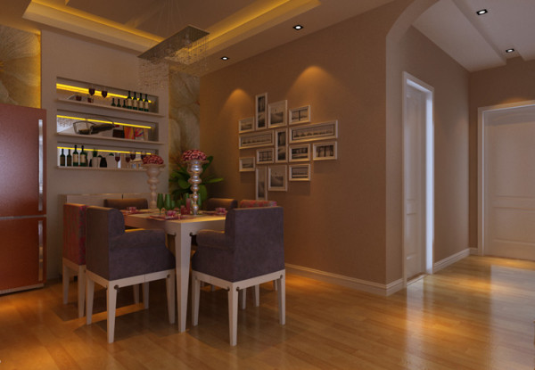 银基王朝三居室餐厅装修效果图