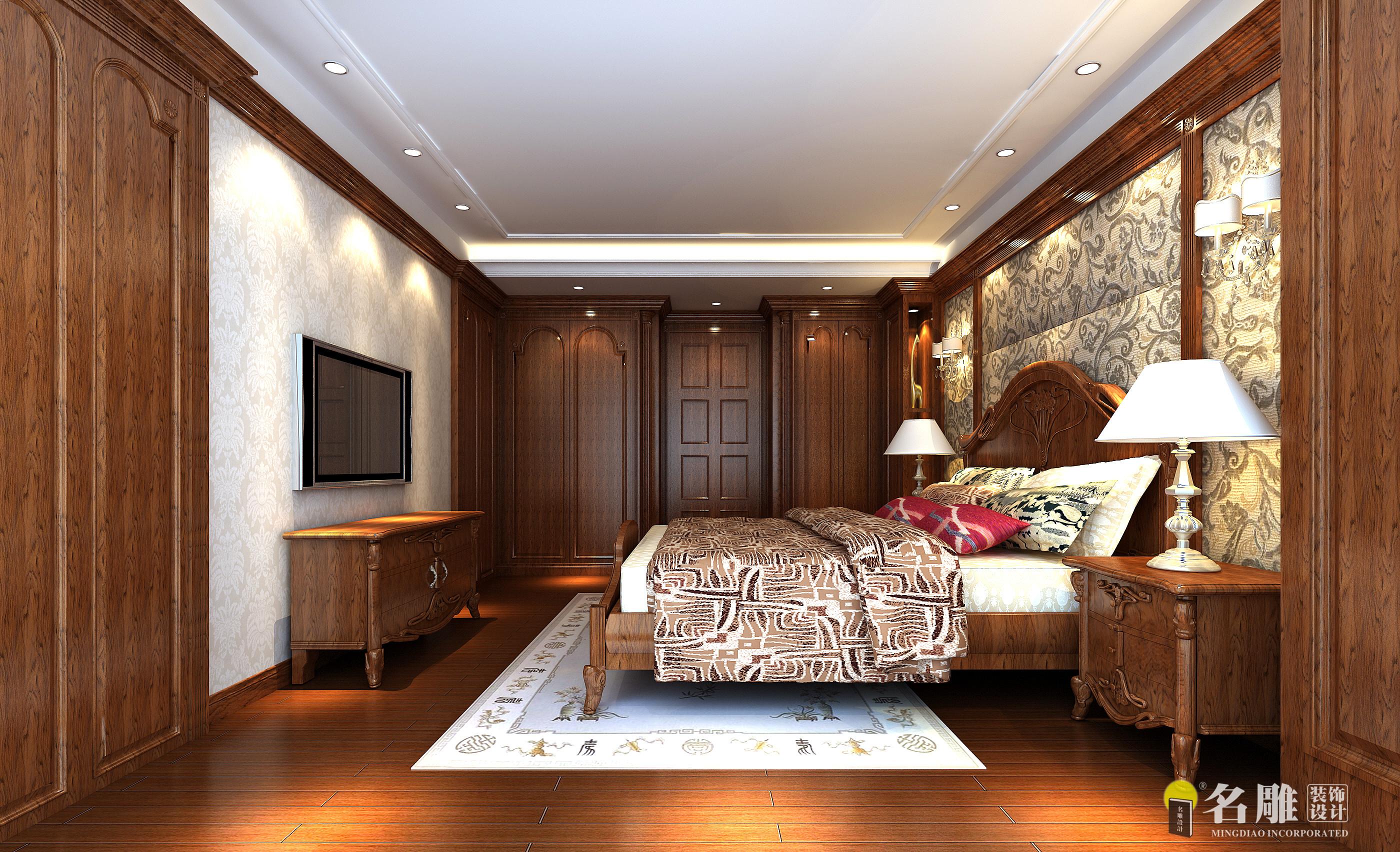 混搭 美式混搭 别墅 高富帅 白富美 名雕装饰 天御山 卧室图片来自名雕装饰设计在天御山--美式混搭220平豪宅装饰的分享