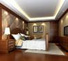 名雕装饰设计--天御山别墅--美式混搭--卧室:大面积运用饰面板、软包和墙纸,减少金银饰品带给人的奢华感。