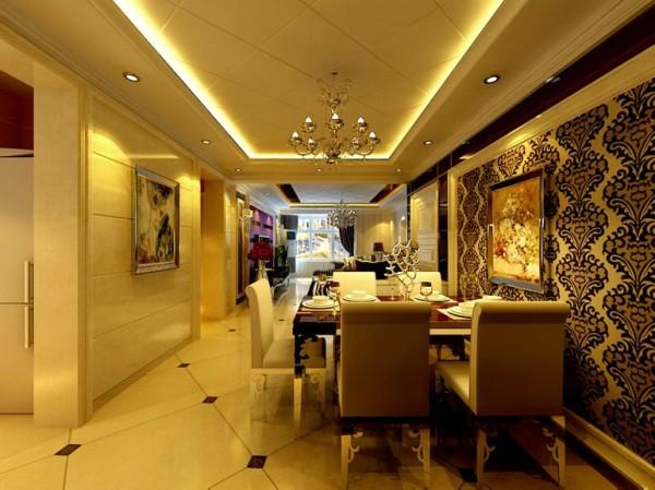 阿尔卡地亚130平三居室欧式新古典餐厅装修设计效果图案例展示