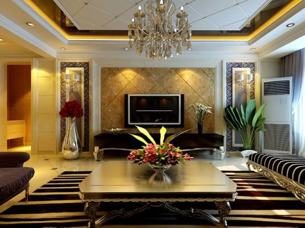 阿尔卡地亚130平三居室欧式新古典客厅装修设计效果图案例展示