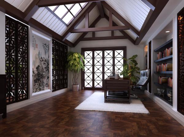 书房的设计从规划设计到家具配饰的材质都体现出雅静的特征。本身房间采光不好,设计师借用了顶面开窗,实现了通风采光的功能,