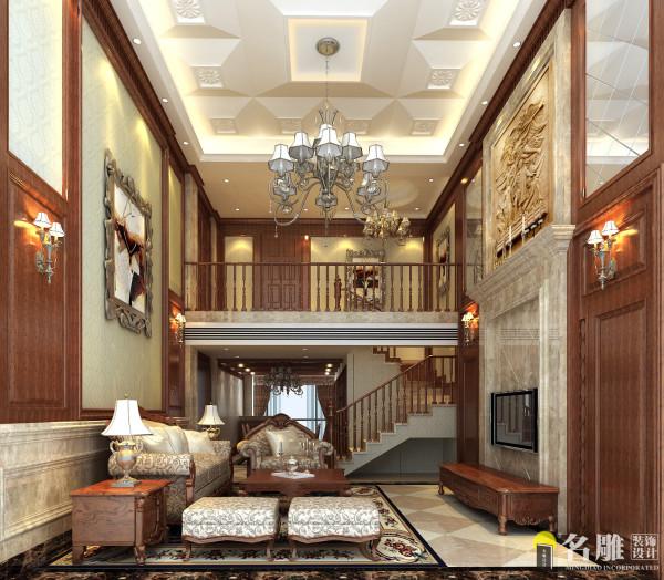 名雕装饰设计--天御山别墅--美式混搭--客厅:大面积运用饰面板、软包和墙纸,减少金银饰品带给人的奢华感。
