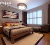 华地紫园139㎡中式装修设计,卧室效果图。