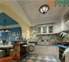厨房采用开放式厨房设计,一个开放式的吧台已经足够能满足平常的使用功能!实用和美观同时拥有!